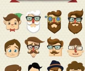 Cartoon character face vector set