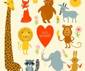 Cartoon cute animals design graphics