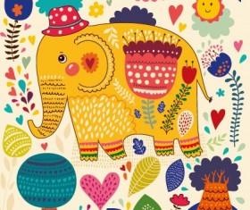 Cartoon flower and elephants vector 01