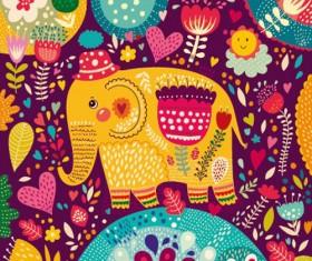 Cartoon flower and elephants vector 02