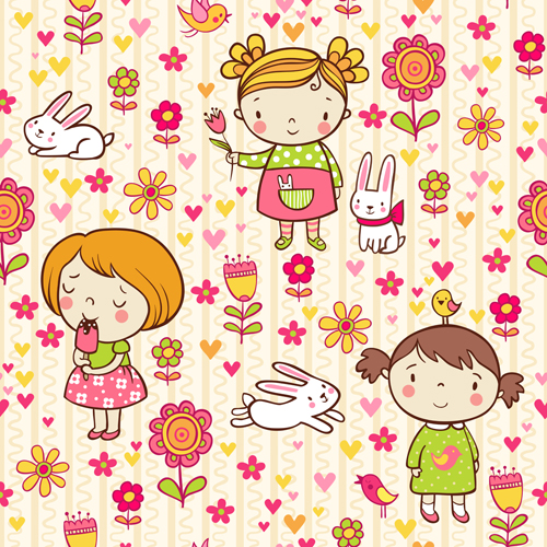 Cartoon kids with floral seamless pattern vector 01