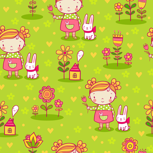 Cartoon kids with floral seamless pattern vector 02