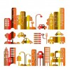 Cartoon town buildings design vector graphics 04