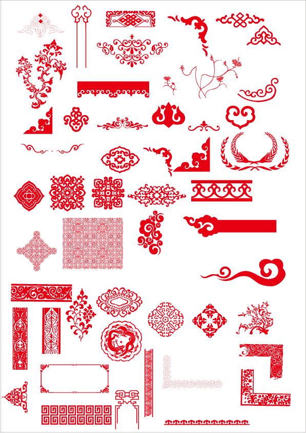China style ornaments with frame vector vector frames for Chinese vector
