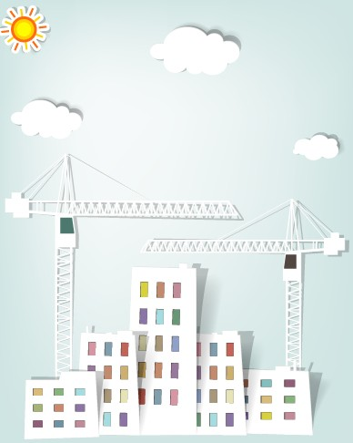 City buildings paper cut creative vector 04 free download