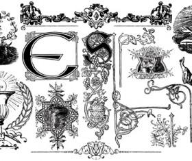 Classical ornaments elements vector material 01