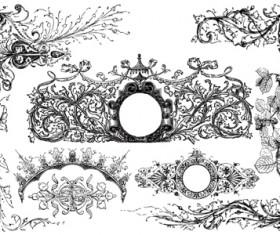 Classical ornaments elements vector material 02