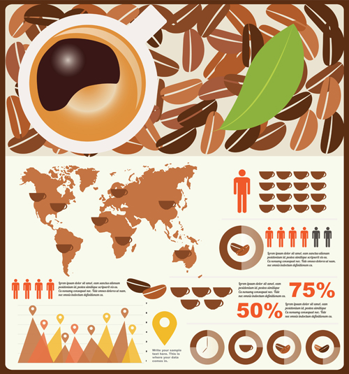 Coffee infographics business template design vector 02