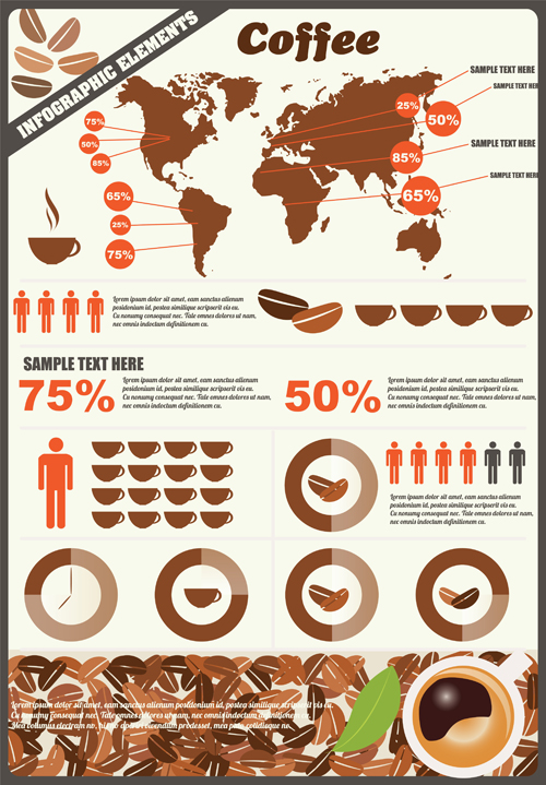 Coffee infographics business template design vector 03