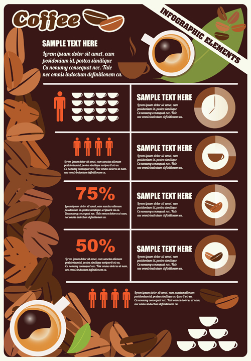 Coffee infographics business template design vector 05 - Vector ...