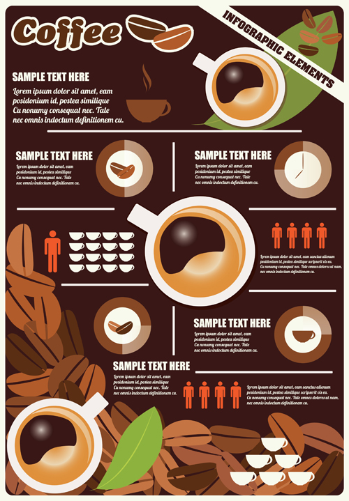 Coffee infographics business template design vector 06