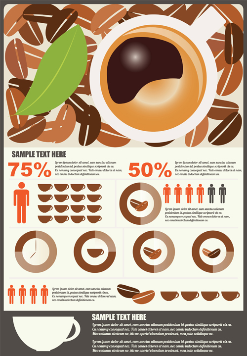 Coffee infographics business template design vector 07