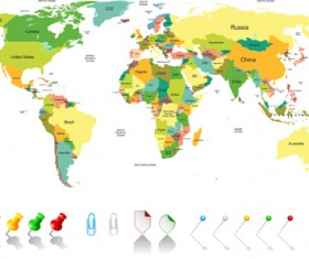 Colored world map design vector