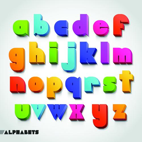 Creative 3D Colored Alphabet Design Vector 01