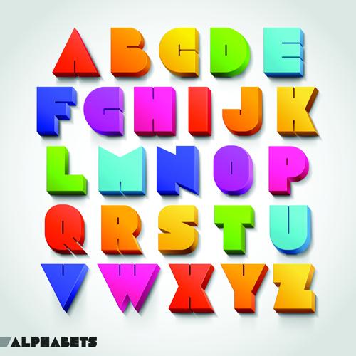 Creative 3D Colored Alphabet Design Vector 02