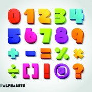Link toCreative 3d colored numbers and symbols vector