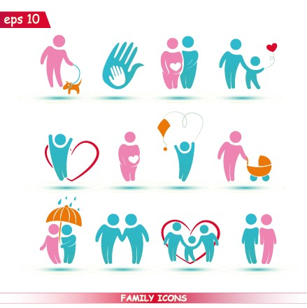 Creative family icons design graphic vector