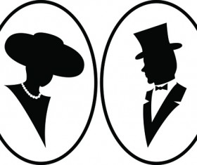 Creative man and woman silhouettes vector set 01