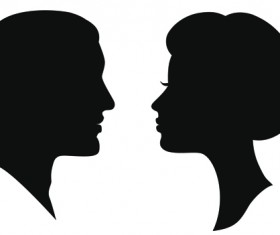 Creative man and woman silhouettes vector set 02