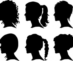 Creative man and woman silhouettes vector set 04