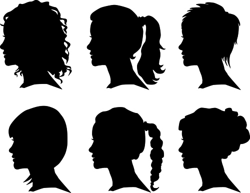 Creative Man And Woman Silhouettes Vector Set 04 Vector People