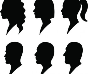 Creative man and woman silhouettes vector set 05