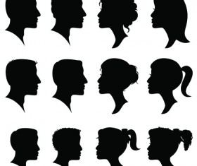 Creative man and woman silhouettes vector set 06
