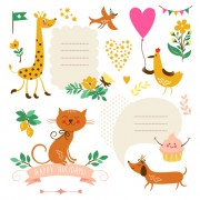 Link toCute animals with labels design vector 01