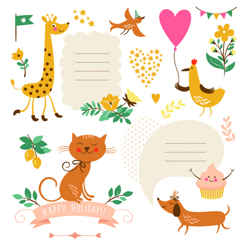 Cute animals with labels design vector 01