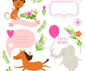 Cute animals with labels design vector 02