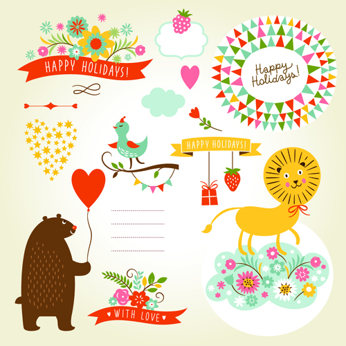 Cute animals with labels design vector 03