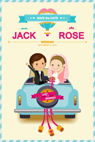 Cute cartoon style wedding invitation card vector 01