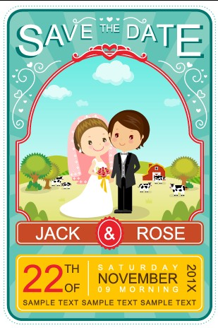 Cute cartoon style wedding invitation card vector 02 free download cute cartoon style wedding invitation card vector 02 stopboris Gallery