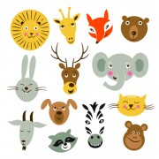 Link toDifferent animals heads vector material
