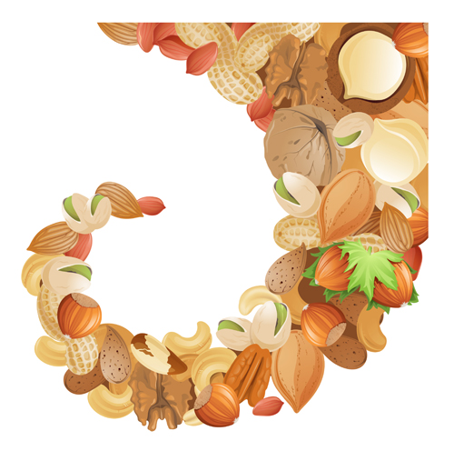 Different nuts vector background graphics 01