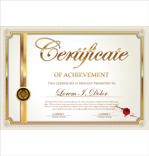 Exquisite certificate frames with template vector 01 for Certificate frame template