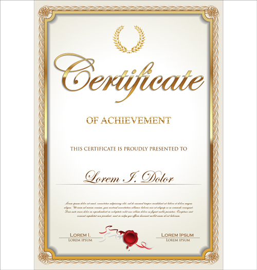 Exquisite certificate frames with template vector 03 for Certificate frame template