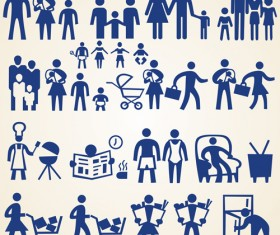 Family and shopping people silhouette vector
