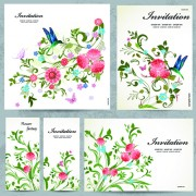 Link toFloral and flower invitation cards vector graphic 01