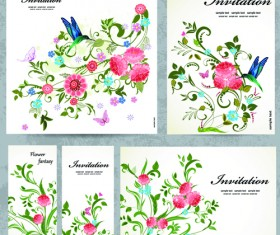 Floral and flower Invitation cards vector graphic 01