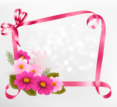 Flower with ribbon frame vector free download