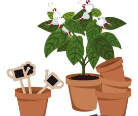 Flowerpot and flower vector set 02