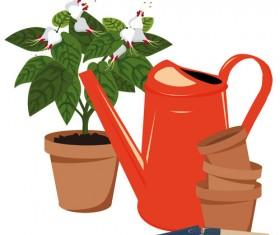Flowerpot and flower vector set 03