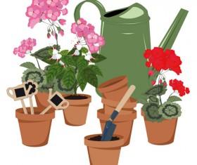Flowerpot and flower vector set 01