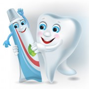 Link toFunny tooth with toothpaste vector graphic