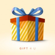 Gift box with blue bow psd