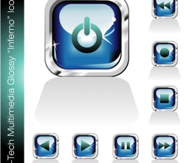Glossy player buttons design vector 01