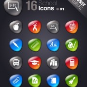 Link toGlossy school icons button vector