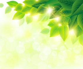Green leaf with halation background vector 02