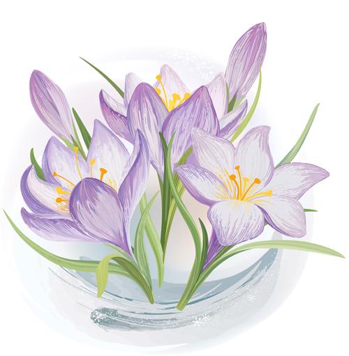 Hand drawn blue flower vector